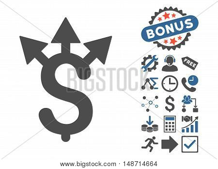 Expences icon with bonus pictogram. Vector illustration style is flat iconic bicolor symbols, cobalt and gray colors, white background.