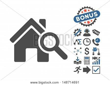 Explore House pictograph with bonus pictogram. Vector illustration style is flat iconic bicolor symbols, cobalt and gray colors, white background.