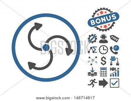 Fan Rotation pictograph with bonus pictograph collection. Vector illustration style is flat iconic bicolor symbols, cobalt and gray colors, white background.