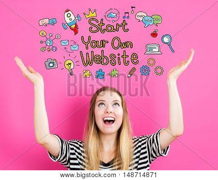 Start Your Own Website Concept With Young Woman