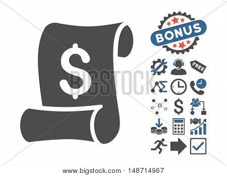 Financial Receipt Roll pictograph with bonus elements. Vector illustration style is flat iconic bicolor symbols, cobalt and gray colors, white background.