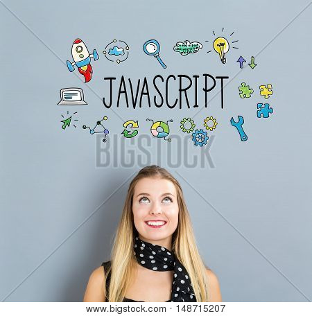 Javascript Concept With Happy Young Woman