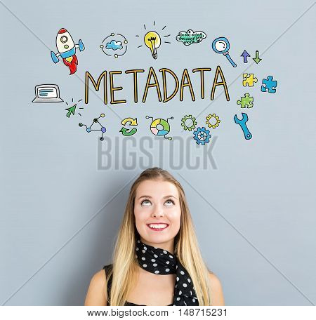 Metadata Concept With Happy Young Woman