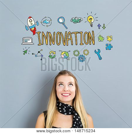 Innovation Concept With Happy Young Woman