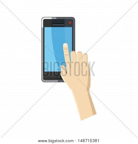 Hand pointing on smartphone icon in cartoon style on a white background