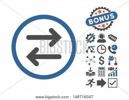 Flip Horizontal pictograph with bonus design elements. Vector illustration style is flat iconic bicolor symbols, cobalt and gray colors, white background.