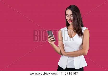 Girl In White Top Texting