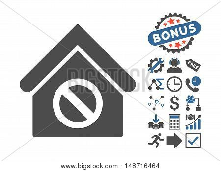 Forbidden Building icon with bonus elements. Vector illustration style is flat iconic bicolor symbols, cobalt and gray colors, white background.