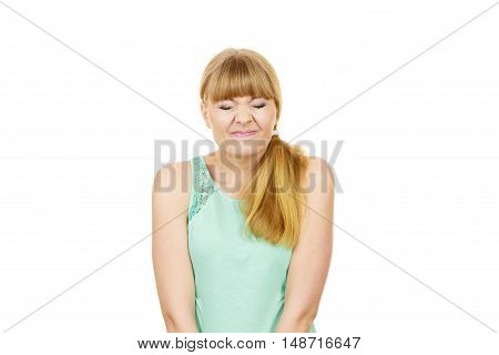 Human face expression emotions feeling attitude reaction. Young woman eyes mouth closed hiding from reality isolated on white