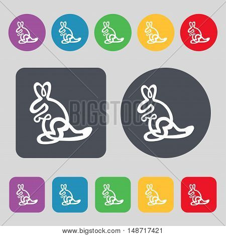 Kangaroo Icon Sign. A Set Of 12 Colored Buttons. Flat Design. Vector