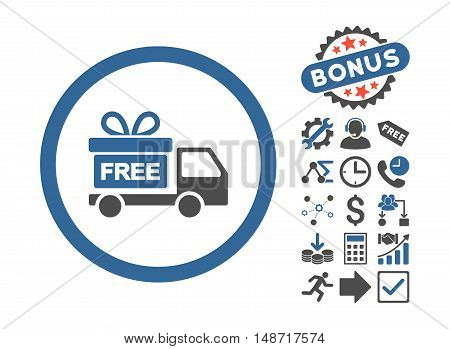 Gift Delivery icon with bonus pictograph collection. Vector illustration style is flat iconic bicolor symbols, cobalt and gray colors, white background.