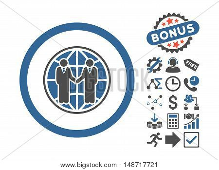 Global Partnership icon with bonus images. Vector illustration style is flat iconic bicolor symbols, cobalt and gray colors, white background.