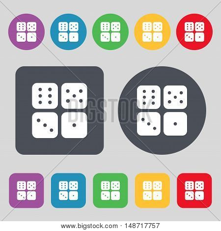 Dices Icon Sign. A Set Of 12 Colored Buttons. Flat Design. Vector