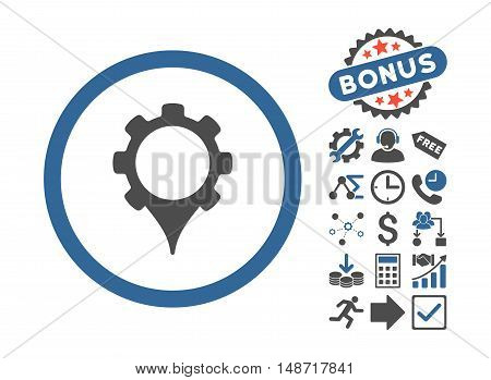 GPS Settings pictograph with bonus elements. Vector illustration style is flat iconic bicolor symbols, cobalt and gray colors, white background.