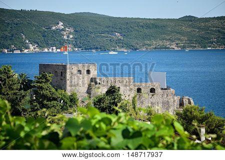 Herceg Novi, Castle Forte Mare on the blue Adriatic Sea, Montenegro