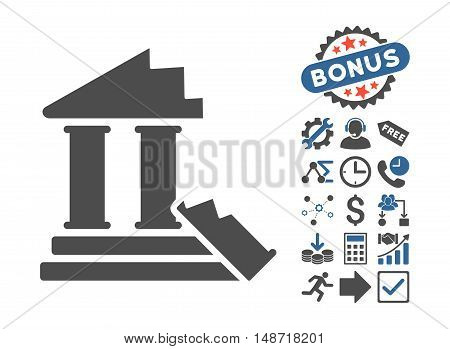 Historic Ruins icon with bonus pictograph collection. Vector illustration style is flat iconic bicolor symbols, cobalt and gray colors, white background.
