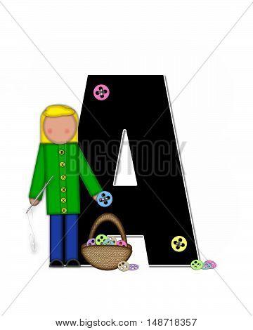 Alphabet Children Sewing A