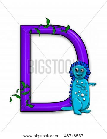 The letter D in the alphabet set