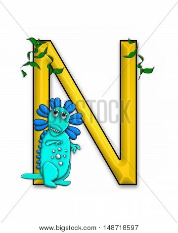 The letter N in the alphabet set