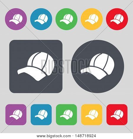 Ball Cap Icon Sign. A Set Of 12 Colored Buttons. Flat Design. Vector