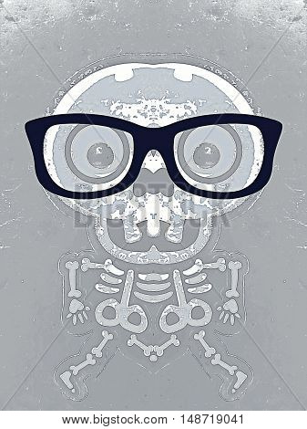 white skull and bone with black glasses and grey background