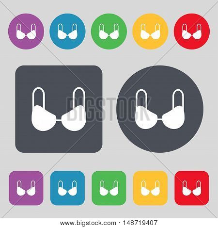 Brassiere Top Icon Sign. A Set Of 12 Colored Buttons. Flat Design. Vector