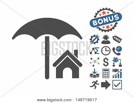 House under Umbrella pictograph with bonus elements. Vector illustration style is flat iconic bicolor symbols, cobalt and gray colors, white background.