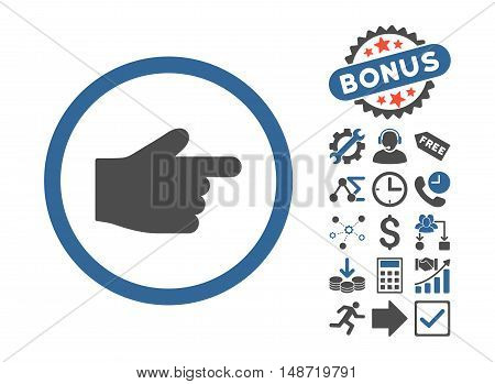 Index Finger icon with bonus elements. Vector illustration style is flat iconic bicolor symbols, cobalt and gray colors, white background.