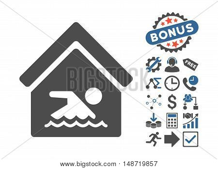Indoor Water Pool icon with bonus clip art. Vector illustration style is flat iconic bicolor symbols, cobalt and gray colors, white background.
