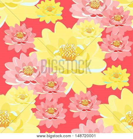 Seamless Pattern Lotus Flower Pink, Yellow, Close Up On Pink Background. Vector Illustration