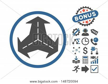 Intersection Directions pictograph with bonus pictogram. Vector illustration style is flat iconic bicolor symbols, cobalt and gray colors, white background.