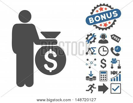 Investor icon with bonus symbols. Vector illustration style is flat iconic bicolor symbols, cobalt and gray colors, white background.