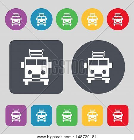 Fire Engine Icon Sign. A Set Of 12 Colored Buttons. Flat Design. Vector