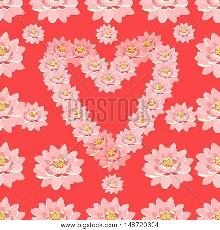Seamless Pattern The Lotus Flower Pink In Heart Shape On Pink Background. Vector Illustration