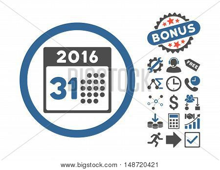 Last 2016 Month Day icon with bonus elements. Vector illustration style is flat iconic bicolor symbols, cobalt and gray colors, white background.