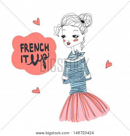 French It Up Fashion Illustration with a Cute French Girl Wearing Blue Longsleeved Shirt and Pink Tutu, Lettering. Colorful Fashion Print