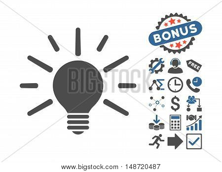 Light Bulb icon with bonus pictures. Vector illustration style is flat iconic bicolor symbols, cobalt and gray colors, white background.