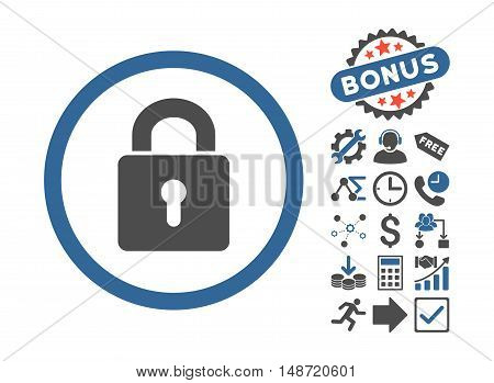Lock Keyhole pictograph with bonus design elements. Vector illustration style is flat iconic bicolor symbols, cobalt and gray colors, white background.