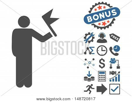 Man With Flag pictograph with bonus images. Vector illustration style is flat iconic bicolor symbols, cobalt and gray colors, white background.