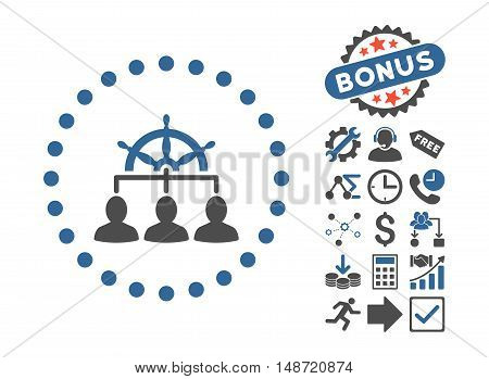 Management pictograph with bonus elements. Vector illustration style is flat iconic bicolor symbols, cobalt and gray colors, white background.
