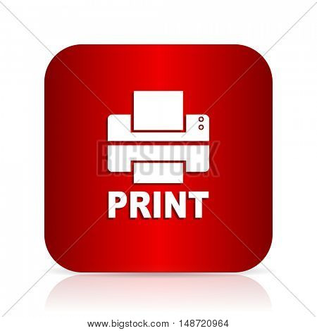 printer red square modern design icon