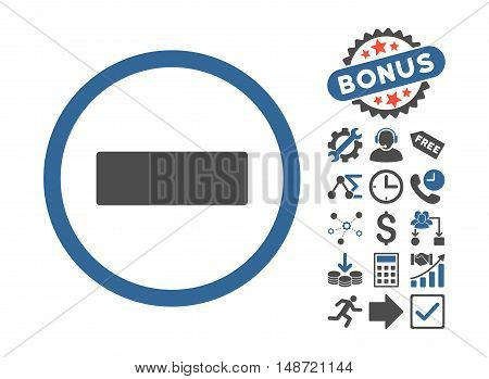 Minus icon with bonus pictogram. Vector illustration style is flat iconic bicolor symbols, cobalt and gray colors, white background.