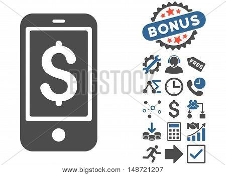 Mobile Balance icon with bonus design elements. Vector illustration style is flat iconic bicolor symbols, cobalt and gray colors, white background.