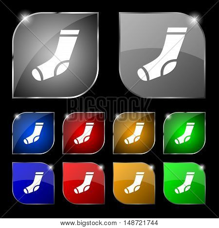 Socks Icon Sign. Set Of Ten Colorful Buttons With Glare. Vector