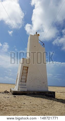 old weathered lighthouse in africa on sal island