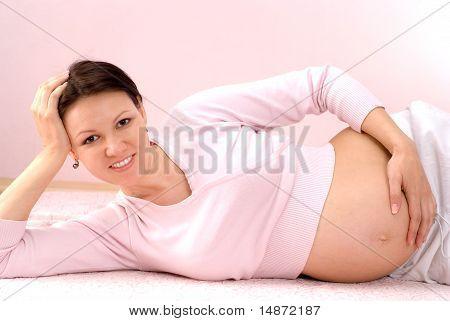 Pregnant Woman Lying