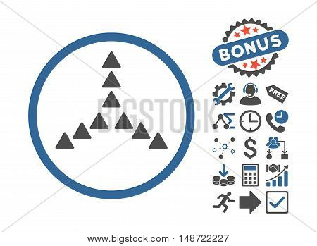 Outside Direction pictograph with bonus pictures. Vector illustration style is flat iconic bicolor symbols, cobalt and gray colors, white background.