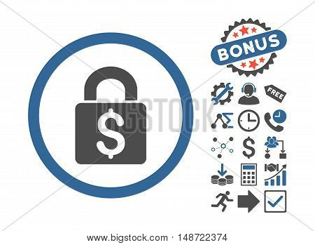 Pay Lock icon with bonus symbols. Vector illustration style is flat iconic bicolor symbols, cobalt and gray colors, white background.