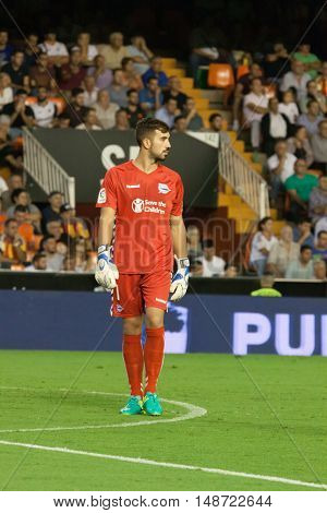 VALENCIA, SPAIN - SEPTEMBER 22nd: Pacheco during Spanish soccer league match between Valencia CF and Deportivo Alaves at Mestalla Stadium on September 22, 2016 in Valencia, Spain
