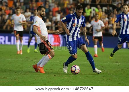 VALENCIA, SPAIN - SEPTEMBER 22nd: Camarasa with ball during Spanish soccer league match between Valencia CF and Deportivo Alaves at Mestalla Stadium on September 22, 2016 in Valencia, Spain